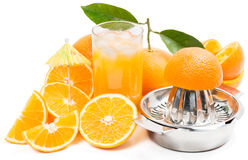 Pure juice with ice and pieces of cut oranges Royalty Free Stock Photography