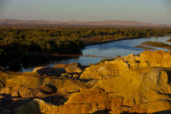 Pure Land - Kanas. 9, colorful beach - adjacent to the Irtysh River, where the rock color changing, and in the sunset hours of sunlight, the color Stock Image