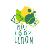 Pure lemon 100 percent logo template original design, colorful hand drawn vector Illustration. For organic food menu, restaurant and cocktail bar, summer Stock Illustration