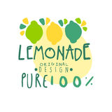 Pure lemonade 100 percent logo template original design, colorful hand drawn vector Illustration. For organic food menu, restaurant and cocktail bar, summer Royalty Free Stock Images