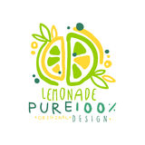 Pure lemonade 100 percent logo template original design, colorful hand drawn vector Illustration. For organic food menu, restaurant and cocktail bar, summer Stock Illustration