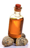 Pure linseed oil. Closeup shot of linseed oil bottle with white background Royalty Free Stock Images