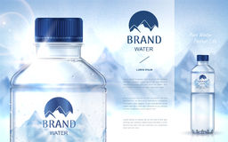 Pure mineral water ad. With bottle close up on the left side and smaller bottle on the right side, snow mountain background 3d illustration Royalty Free Stock Photo