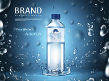 Pure mineral water ad. Plastic bottle in the middle and flying water drop elements, blue background 3d illustration Stock Photo