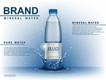 Free Pure Mineral Water Ad, Plastic Bottle With Water Drop Elements On Blue Background. Transparent Drinking Water Bottle Royalty Free Stock Image - 113615766