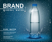 Pure mineral water ad, Transparent shine plastic bottle with drop elements on blue background. realistic 3d vector Royalty Free Stock Image