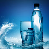 Pure Mineral Water Against Ocean Surface Stock Image