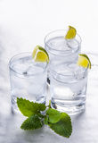 Pure mineral water with ice and lemon. Glasses full of pure mineral water with ice and lemon Stock Photos