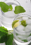 Pure mineral water with ice and lemon Stock Photo