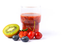 Pure mixed berries juice on white background Stock Photos
