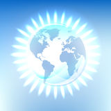 Pure natural energy planet. Natural gas fires glowing over clean planet illustration, symbol of ecological balance Royalty Free Stock Photography