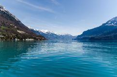 A view from a ferry toward the lake Brienz stock images