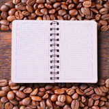 Pure notebook for menu, recipe record on wooden Stock Image