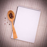 Pure notebook for recording menu, recipe on red Stock Photos