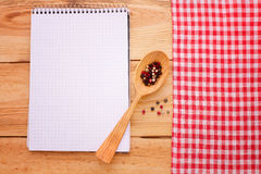 Pure notebook for recording menu, recipe on red Stock Photography