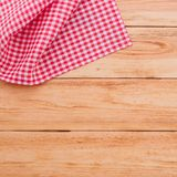 Pure notebook for recording menu, recipe on red checkered tablecloth tartan. Royalty Free Stock Images