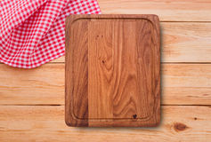 Pure notebook for recording menu, recipe on red checkered tablecloth tartan. Stock Image