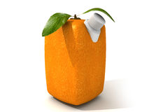 Pure orange juice. 3D rendering of a Cubic orange with a juice dispenser Royalty Free Stock Photography