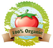 A pure organic label with a tomato Stock Image