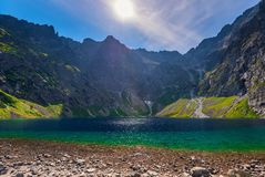 Pure picturesque lake of Cherny Staw in high Tatras. Poland stock image