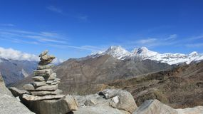 Pure Quiet Matterhorn Glacier Landscapes In Sunny Day. Pure mountains and glacier view matterhorn glacier paradise in summertime with warm sunshine and cliff Royalty Free Stock Photo