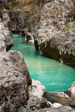 Pure river soca flowing in canyon gorge, julian alps, slovenia Royalty Free Stock Photos