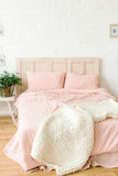 Pure scandinavian bedroom with white brick wall Royalty Free Stock Photos