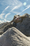Pure  Sea salt mountain. Mountains of sea salt in a saline , sardinia and blue sky and clouds Stock Image