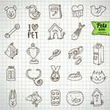 Pure series | Hand drawn pet animals and objects icon set Royalty Free Stock Images