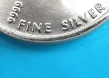 Pure silver coin. Close up of a pure silver 999.9 bullion coin Stock Photo