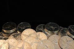 Pure silver coins Royalty Free Stock Photography