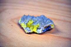 Pure sulfur elemten and quartz crystals Royalty Free Stock Images