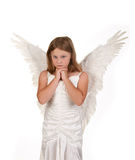 Pure and sweet little angel girl isolated white Royalty Free Stock Photography