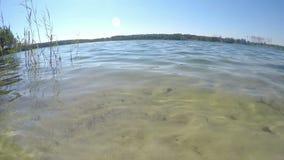 Pure water of blue lake closeup stock video
