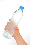 Pure water bottle in hand Stock Images