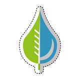 Pure water drop with leaf emblem Royalty Free Stock Photos