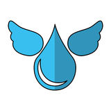 Pure water drop with wings emblem Royalty Free Stock Photo