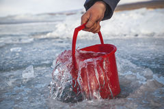Pure water from the frozen lake Stock Photography