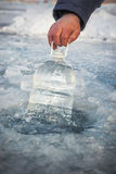 Pure water from the frozen lake royalty free stock images