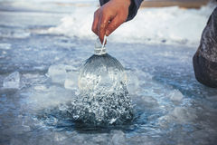 Pure water from the frozen lake Royalty Free Stock Image