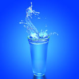 Pure water in galss on blue. Blue light and splashed water in cold glass on blue background stock illustration