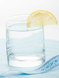Pure water for healthy life with measure tape Royalty Free Stock Images