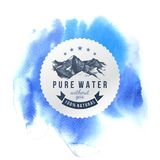 Pure water label template. With hand drawn mountains on blue watercolor background Royalty Free Stock Photo