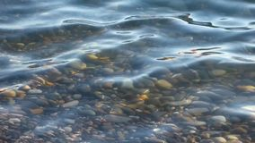 Pure water surface above polished stones, closeup view. Underwater pebbles and sea waves. Sunny summer day. Natural background stock video