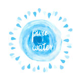 Pure water vector illustration. Watercolor blue splash and drops on white Royalty Free Stock Images