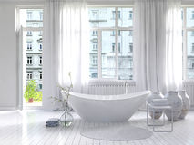 Pure white bathroom interior with separate bathtub Stock Photos