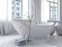 Pure white bathroom interior with separate bathtub Stock Image