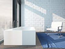 Pure white bathroom interior with separate bathtub Royalty Free Stock Photos