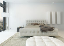 Pure white bedroom interior with king-size bed Stock Images