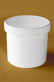 Pure white box. Pure white round box with cap. (with clipping path Stock Photo